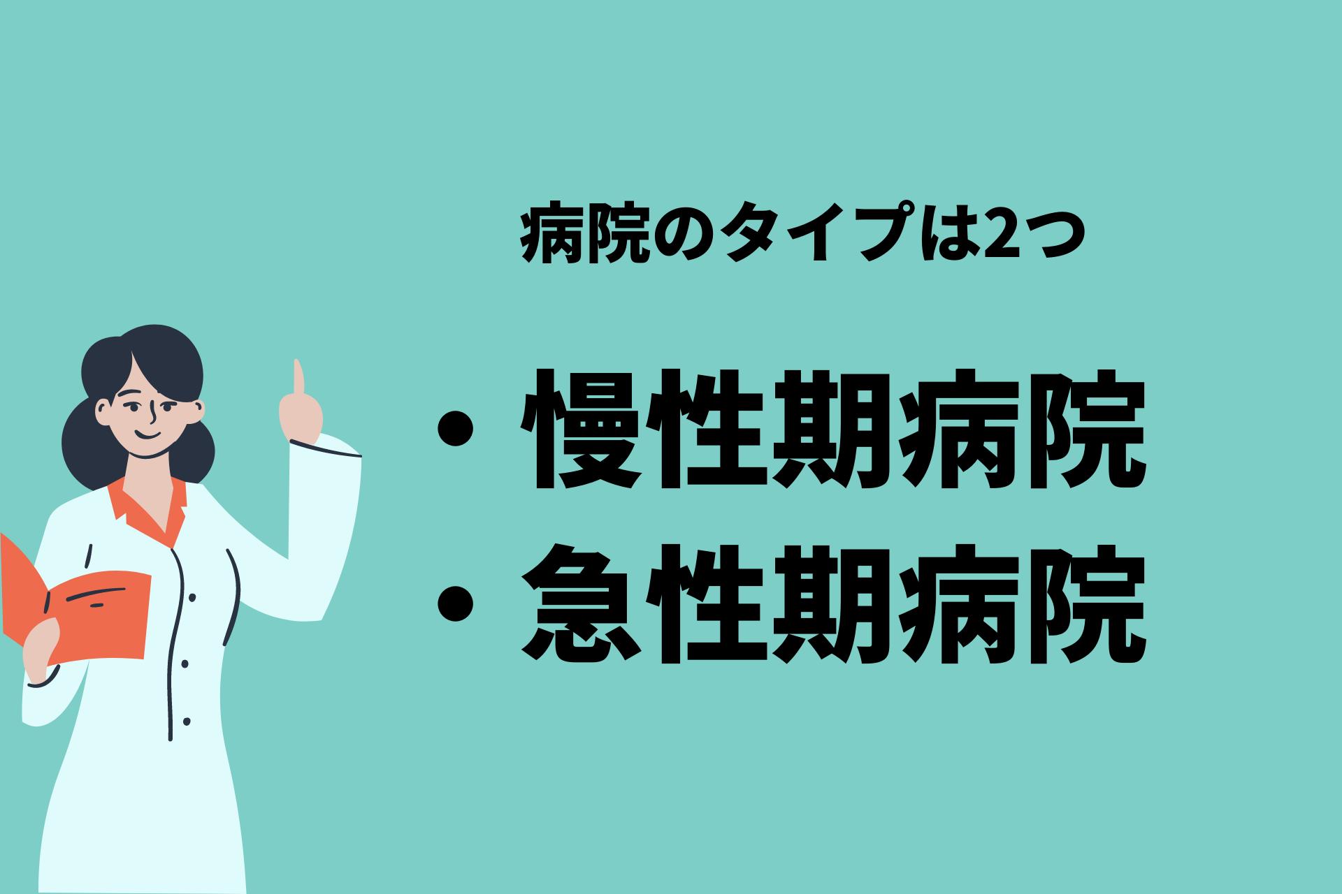 病院タイプとは「慢性期病院」と「急性期病院」