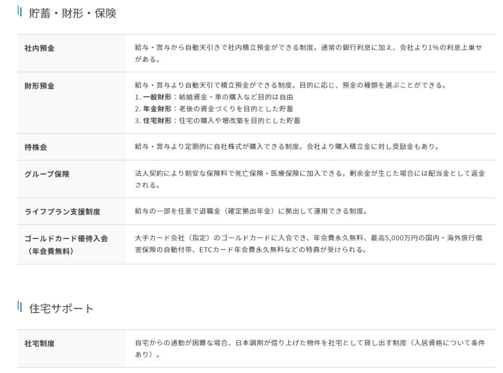 日本調剤の福利厚生